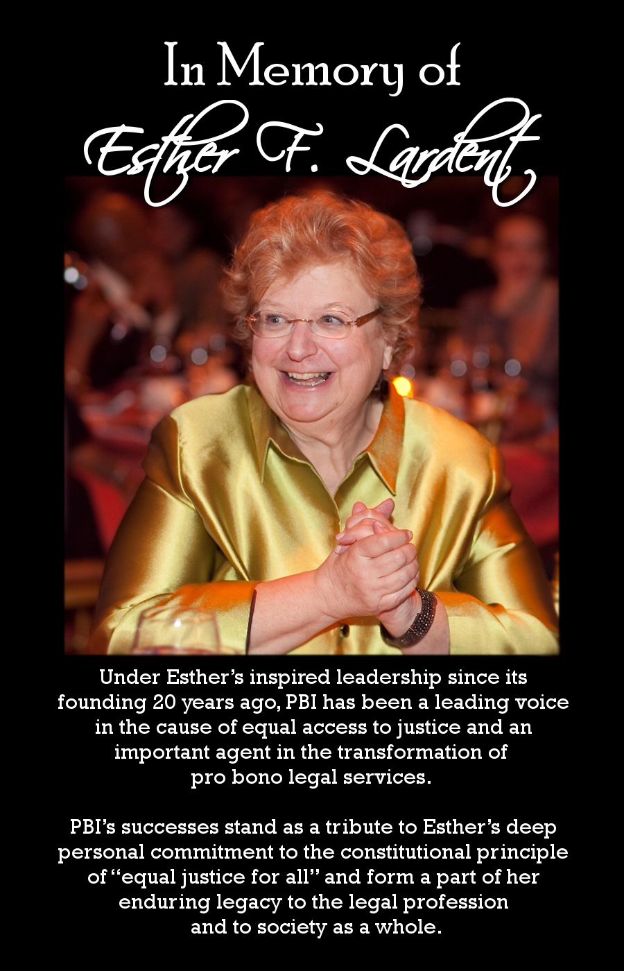In Memory of Esther F. Lardent